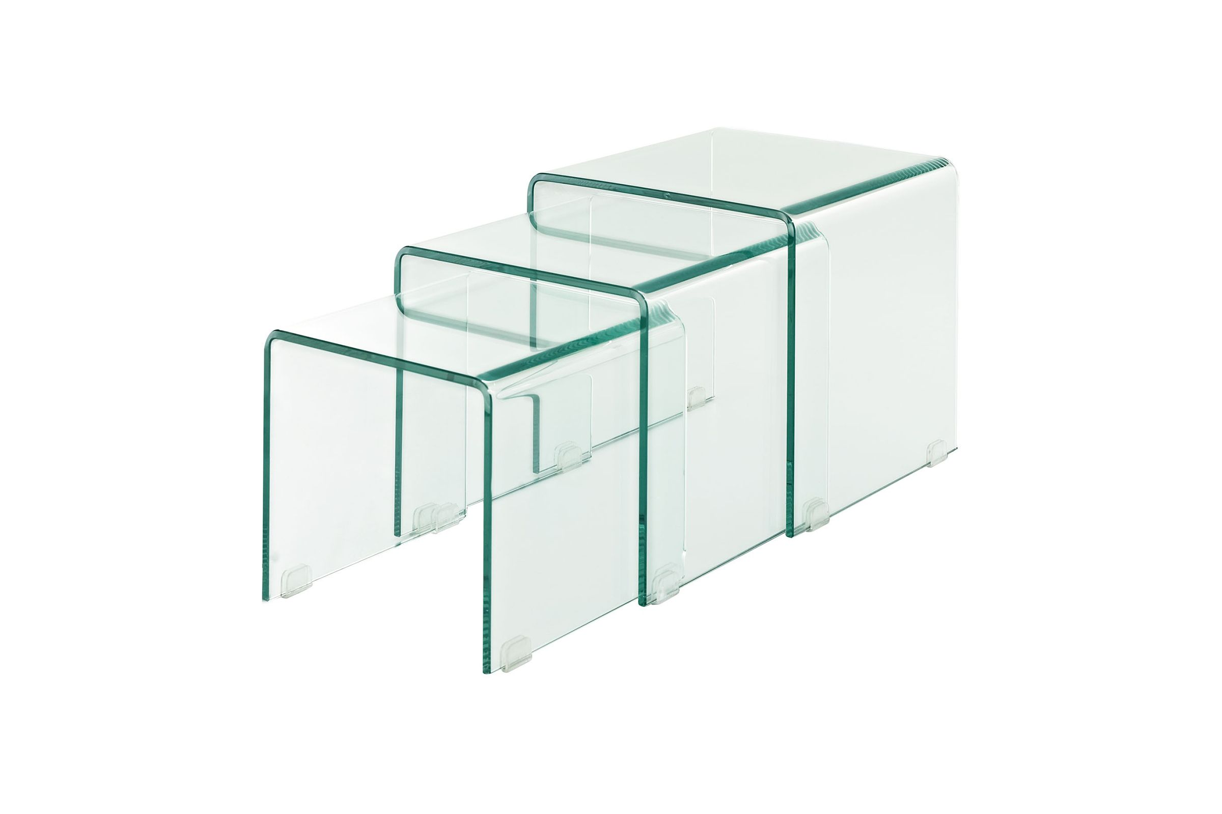 Set Of 3 Glass Tables: Clicquot Bent Glass Nesting Tables (Set Of 3